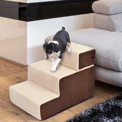 PawHut® Hundetreppe Haustiertreppe   Einstiegshilfe   54 x 40 x 39cm   Beige