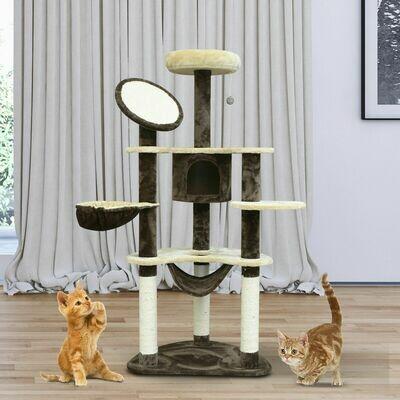 PawHut® Katzenbaum Sisalsäulen 65x50x153 cm creme-kaffebraun