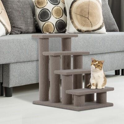 PawHut® Tiertreppe Katzentreppe Hundetreppe 4 Stufen Hellbraun