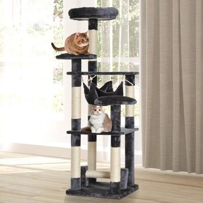 PawHut® Kratzbaum für Katzen   Spanplatte, Sisalfaser, Plüsch   40 x 40 x 132 cm   Grau