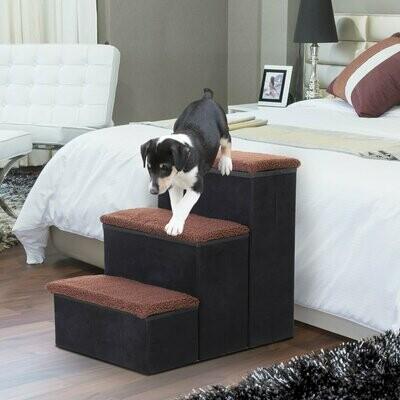 PawHut® Haustiertreppe Hundetreppe Katzentreppe Einstiegshilfe Faltbar mit Innenstauraum MDF Schwarz 40 x 54 x 48 cm