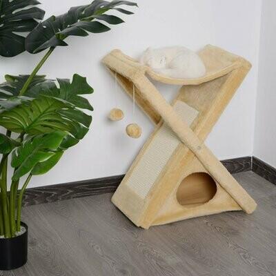 PawHut® Kratzbaum Katzenturm Katzenbaum mit Höhle und Hängematte Sisal Spanplatte gelb