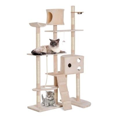 PawHut® Kratzbaum Katzenbaum Kletterbaum Futterschale Leiter Beige L150 x B60 x H170 cm