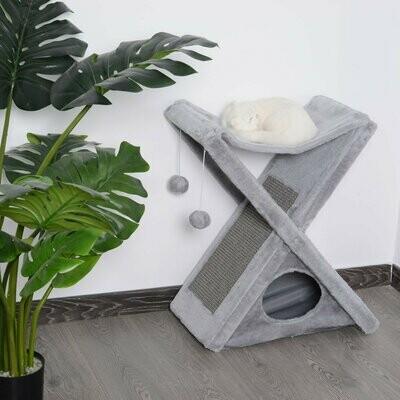 PawHut® Katzenturm Kratzbaum Katzenbaum mit Höhle und Hängematte Sisal Spanplatte grau