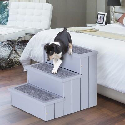 PawHut® Haustiertreppe Hundetreppe Katzentreppe Einstiegshilfe mit Teppich Innenstauraum Kiefernholz Grau