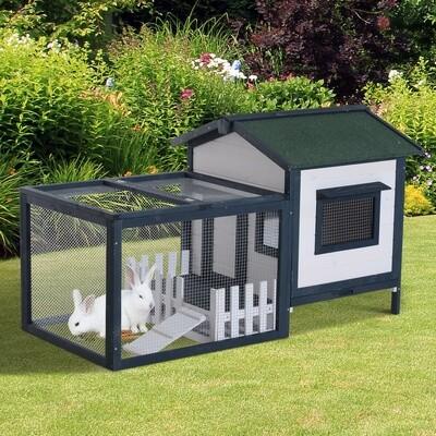 PawHut® Hasenstall Kaninchenstall mit Zaun Freigehege