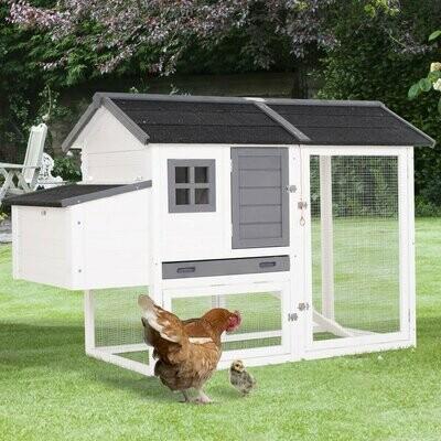 PawHut® Hühnerstall mit Nistkasten, Laufstall Auslauf Geflügelstall mit Stange Massivholz Weiß 168 x 80 x 111 cm