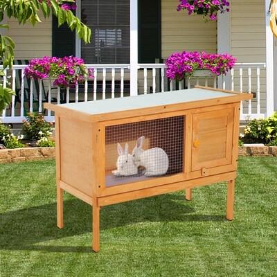 PawHut® Hasenstall Kaninchenstall Holz 90x45x65cm