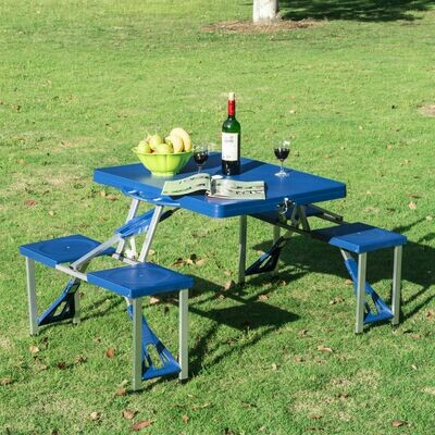 Outsunny® Alu Campingtisch Picknick 4-Sitzer klappbar Blau