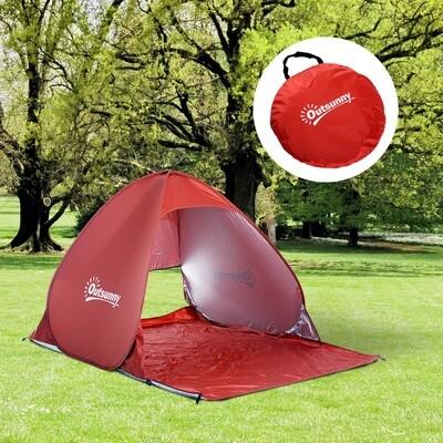 Outsunny® Wurfzelt Pop Up Zelt Strandmuschel Campingzelt rot