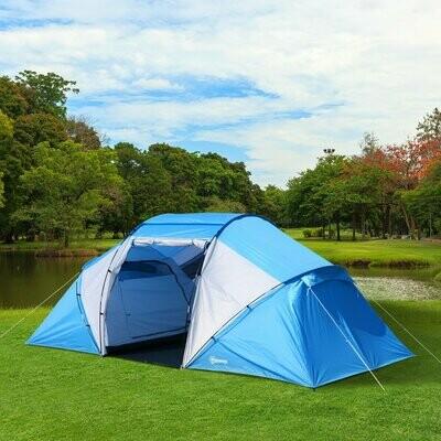 Outsunny® Campingzelt Familienzelt mit 2 Schlafkabinen Blau L460 x B230 x H195cm