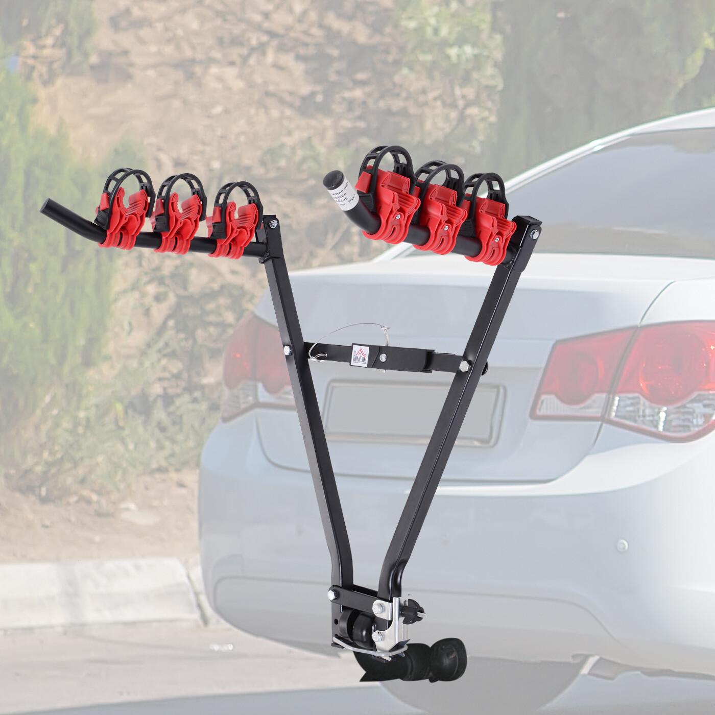 HOMCOM® Fahrradheckträger für 3 Fahrräder | Veloträger | Faltbar | Metall, Kunststoff | 66 x 54 x 47 cm | Schwarz, Rot