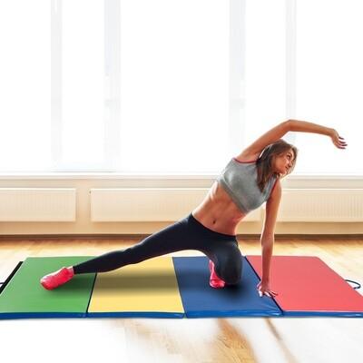 HOMCOM® Gymnastikmatte Fitnessmatte 3 Fach faltbar bunt