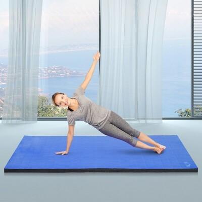 HOMCOM® Gymnastikmatte Trainingsmatte Turnmatte faltbar Blau 180x148cm