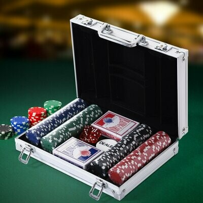 HOMCOM® Pokerkoffer Pokerset 200 Pokerchips 2 x Kartenspiel 5 x Würfel 1 x Alukoffer 4 Farben 29,5 x 20,5 x 6,5 cm 11,5 g/Chip