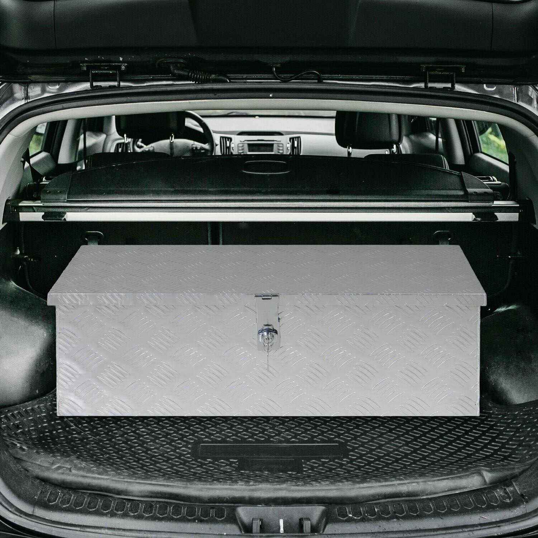 HOMCOM® Gerätekasten Werkzeugkasten Werkzeugkoffer für Auto / Werkstattwagen mit Schloss Tragbar Alu Silber 76 x 33 x 25 cm
