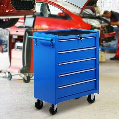 HOMCOM® Werkstattwagen fahrbar, abschließbar mit 5 Schubladen, blau