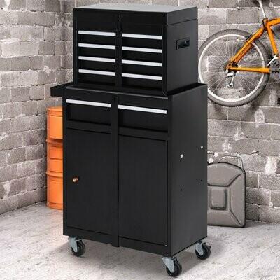 DURHAND® Werkstattwagen Werkzeugschrank Werkzeugkasten mit 5 Schubladen 360°-Rollen Metall 52,5 x 28 x 104,5 cm