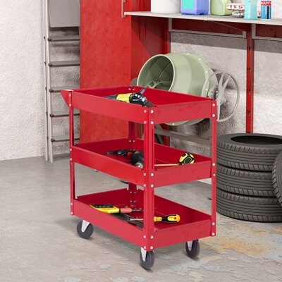 DURHAND® Werkstattwagen Werkzeugwagen Tragbar 200kg 3 Etagen Rot