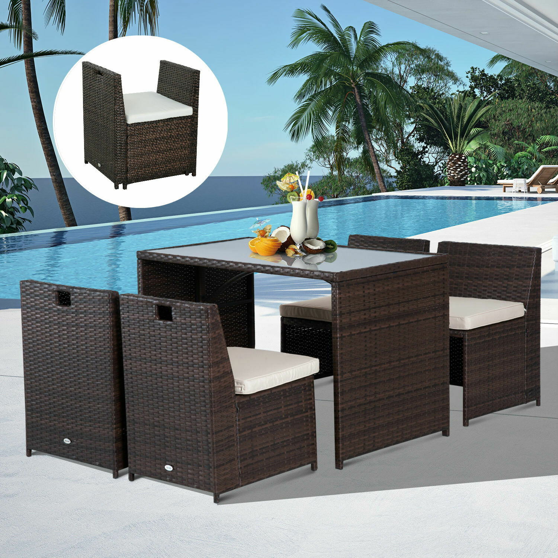 Outsunny® 5 tlg. Polyrattan / Wicker Garnitur Gartenset Sitzgruppe Gartenmöbel