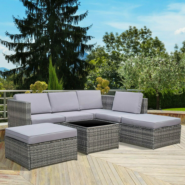 Outsunny® 7-tlg. Wicker Polyrattan Gartengarnitur Gartenmöbel Garten-Set Loungeset inkl. Fußhocker Sitzkissen