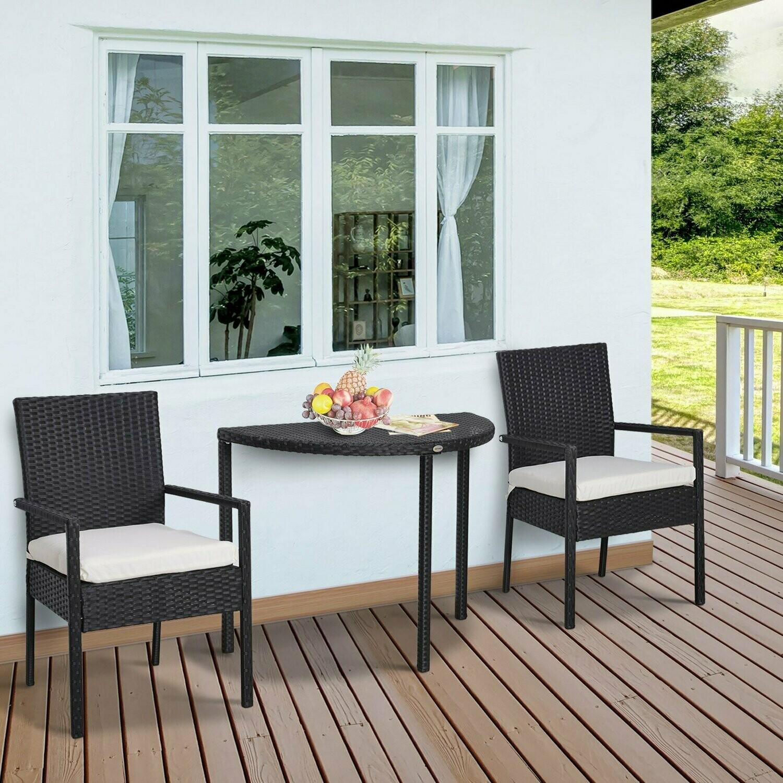 Outsunny® Gartensitzgruppe 3-tlg. Wicker Polyrattan Gartenset Rattanmöbel für Balkone Schwarz mit Sitzkissen