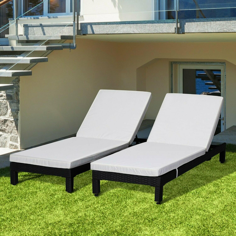 Outsunny® 2er-Set Sonnenliege Gartenliege Relaxliege Rückenlehne 5-stufig verstellbar mit Kissen Polyrattan 196 x 65 x 22 cm