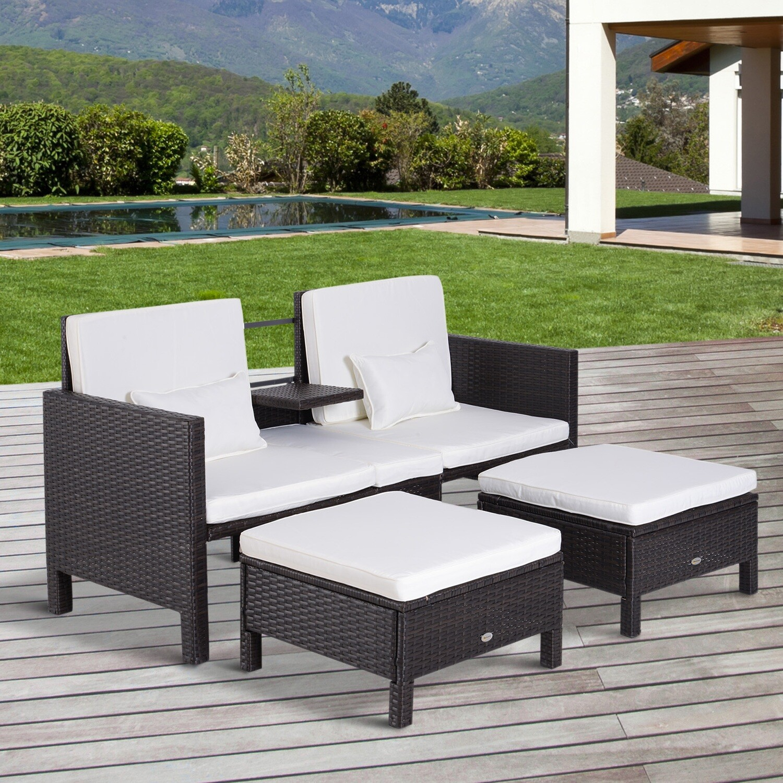 Outsunny® 3-tlg. Gartenmöbel Gartensofa Lounge Gartenset Sitzgruppe Rattanmöbel Braun Wicker Polyrattan + Metall
