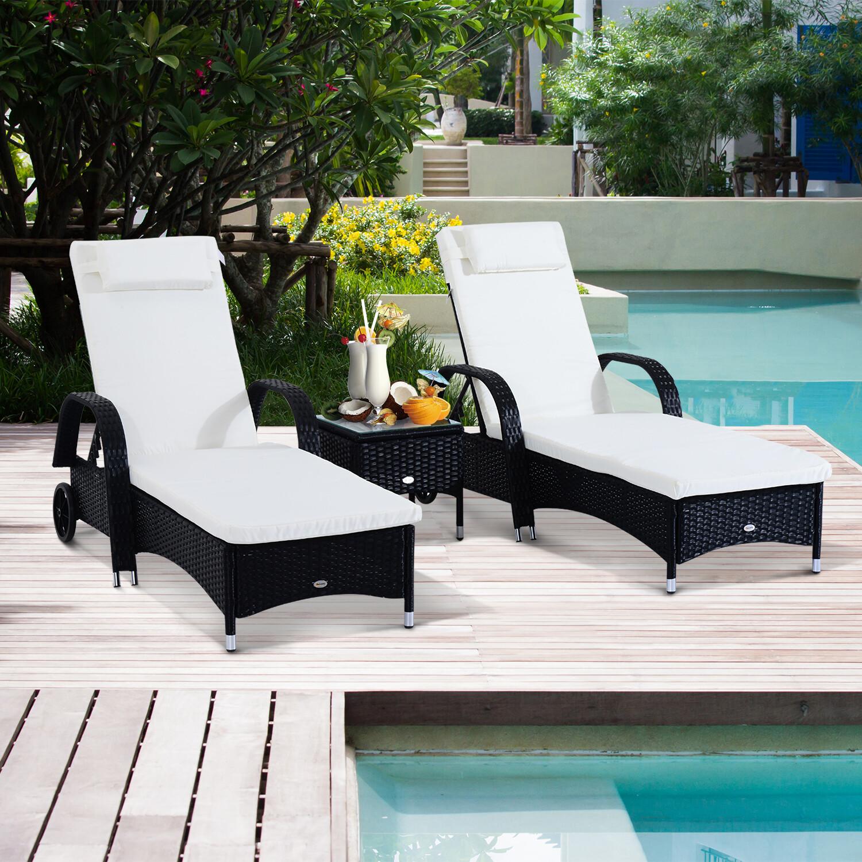 Outsunny® Sonnenliege Tisch 3er Set Gartenmöbel Wicker Polyrattan Schwarz