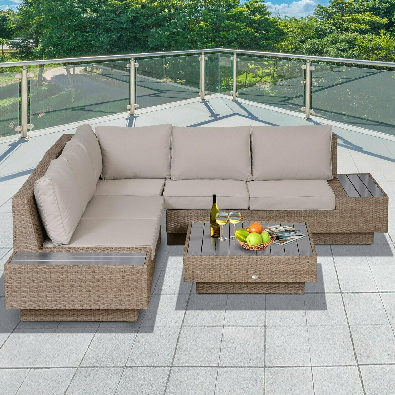 Outsunny® 4 tlg. Luxus Wicker Polyrattan Gartengarnitur Gartenmöbel Garten-Set Sitzgruppe Loungeset Loungemöbel inkl. Seitentisch Sitzkissen