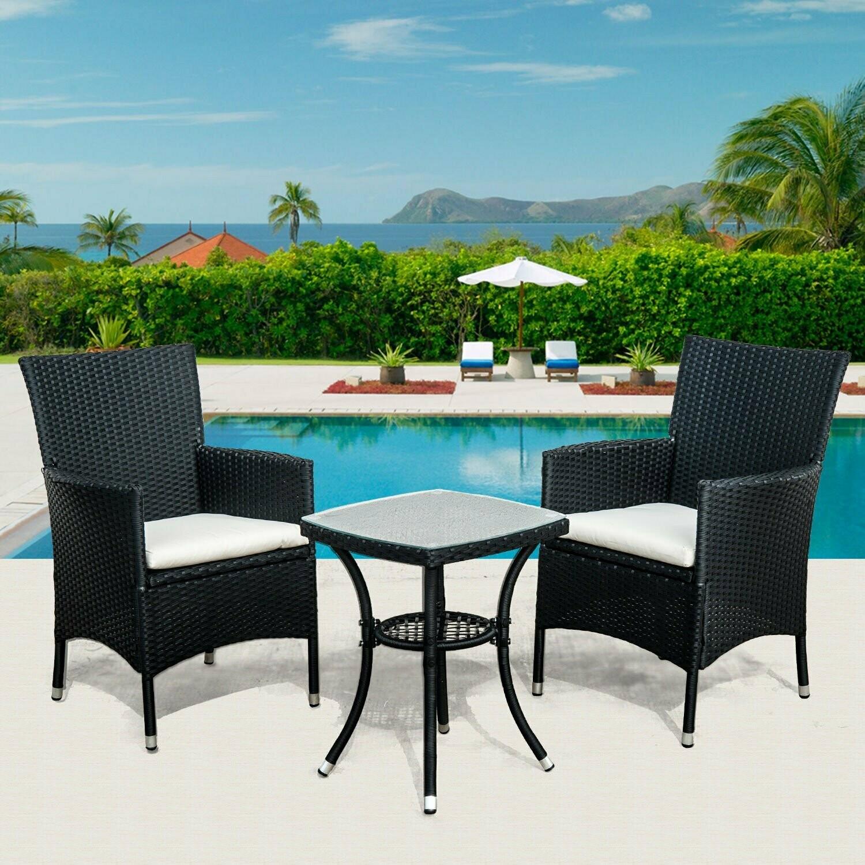 Outsunny® Gartenmöbel 5 tlg. Wicker Polyrattan Balkonset 2 Stühle 1 Tisch Gartenset
