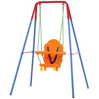 HOMCOM® Kinderschaukel mit Sicherheitsgurt Kleinkindschaukel Schaukelsitz ab 1 Jahr PP PE