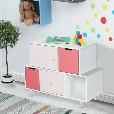 HOMCOM® Kinderzimmer Schrank Kinderschrank 3 Schubladen Aufbewahrungsregal MDF Rosa