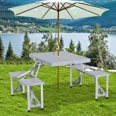 Outsunny® Campingtisch Set Picknicktisch Sitzgruppe Klapptisch mit 4 Stühle Alu 135 x 82 x 66 cm