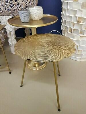 Beistelltisch Metall Dekotisch Hilton ø 35 x H 46 cm rund Aluminium mit Struktur gold