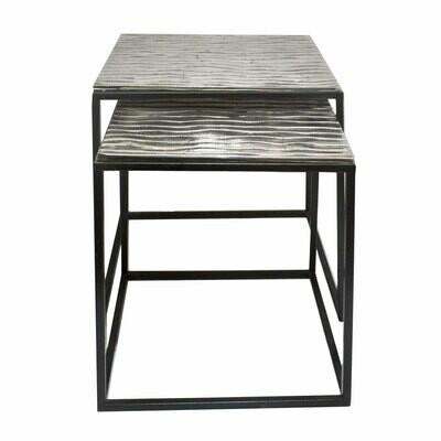 Beistelltisch Tiffany 2-teilig quadratisch: B 40 x H 42 x T 40 cm u. B 35 x H 38 x T 35 cm Metall Dekotisch Couchtisch klassisches Design Aluminium
