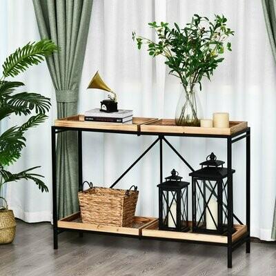 HOMCOM® Beistelltisch Couchtisch Konsolentisch Faltbar mit 4 Fächer Aufbewahrung Vintage-Muster MDF 120 x 40 x 84 cm