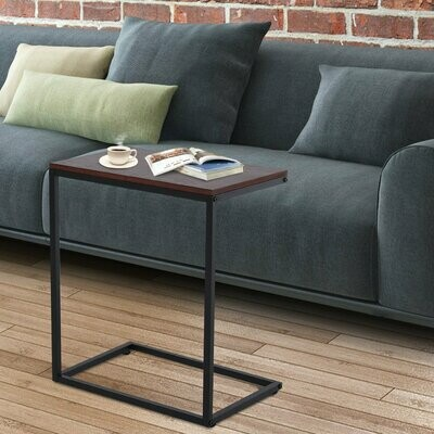 HOMCOM® Beistelltisch in C-Form Kaffeetisch Couchtisch Standtisch Tisch Metall MDF