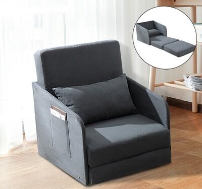 HOMCOM® Schlafsofa Sofabett Einzelsofa Waschbarer Bezug 2 Seitentaschen Kissen Metall Grau 70 x 74 x 78 cm