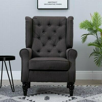HOMCOM® Einzelsessel Relaxsessel Ohrensessel mit Tufting Holzfüsse Polyester Braun 76 x 86 x 108 cm