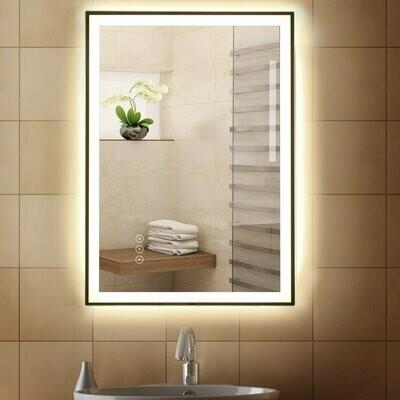 kleankin® Badezimmerspiegel LED-Spiegel Nebelfreier Wandspiegel Touch-Schalter 3 Farben Alu 70 x 50 x 3 cm