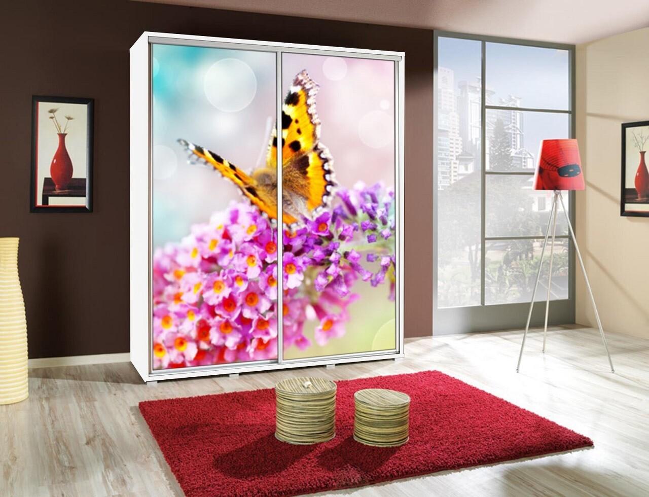 Schiebetürenschrank - Kleiderschrank mit Schiebetür PENELOPA 155cm Motiv Schmetterling / Butterfly