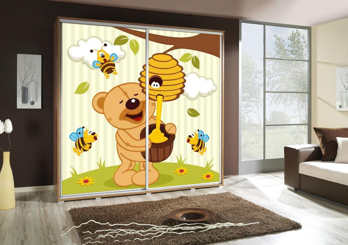 Schiebetürenschrank / Kleiderschrank mit Schiebetür PENELOPA 205cm Motiv: Teddybär / Bear