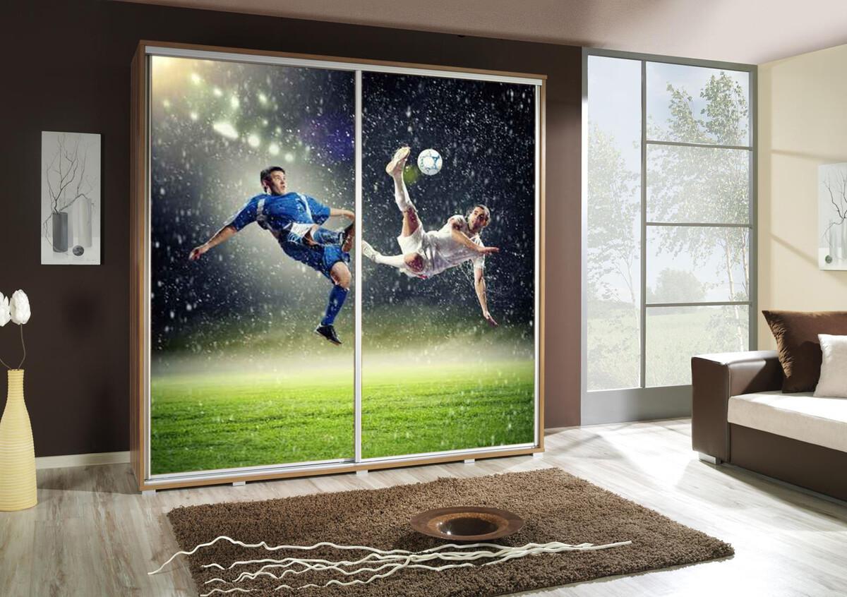 Schiebetürenschrank / Kleiderschrank mit Schiebetür PENELOPA 205cm Motiv: Soccer / Fussball