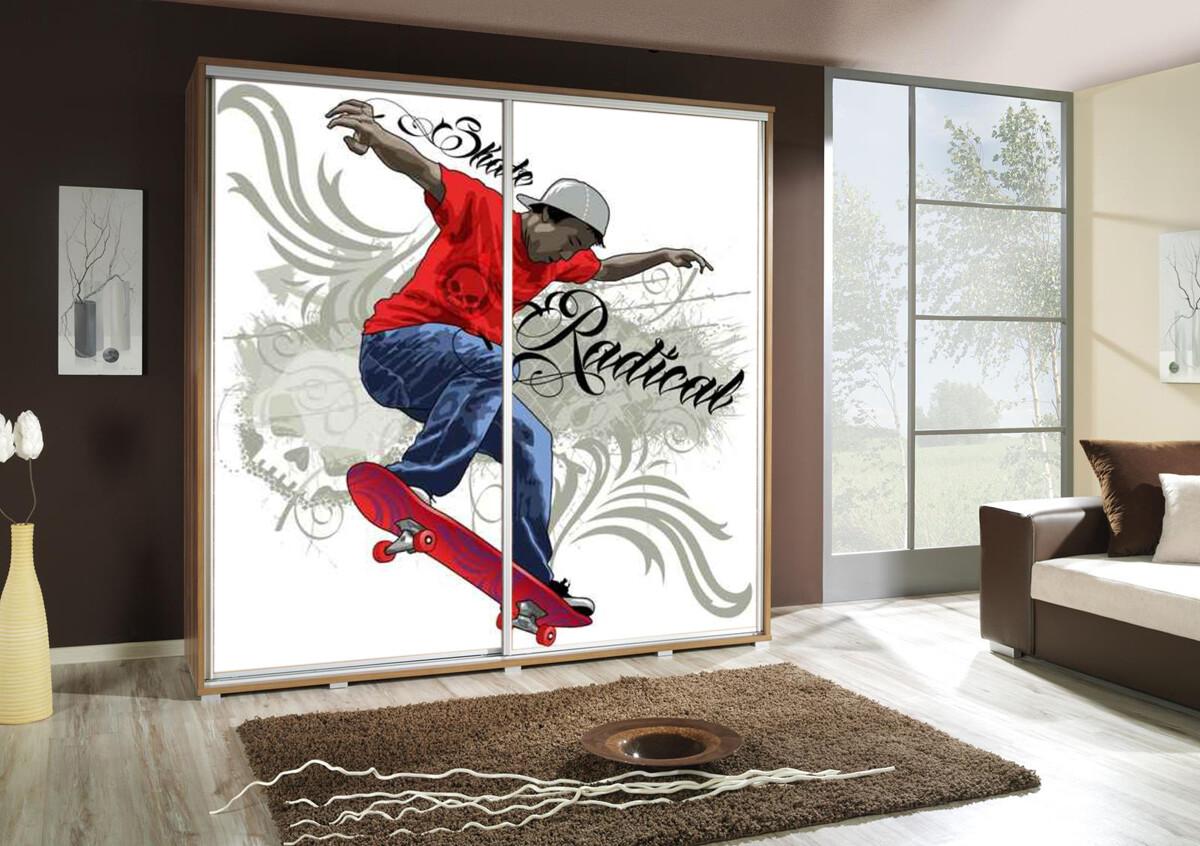 Schiebetürenschrank / Kleiderschrank mit Schiebetür PENELOPA 205cm Motiv: Skater / Skateboard