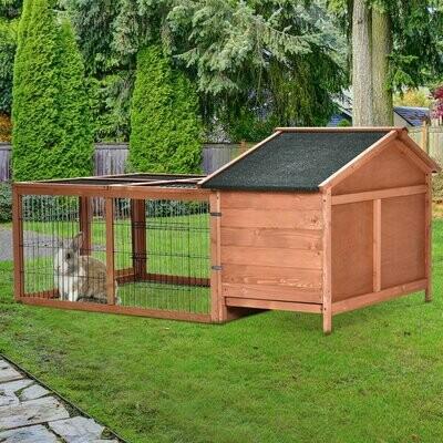 PawHut® Kaninchenstall Hasenkäfig Hasenstall mit Freigehege Asphaltdach Massivholz Natur