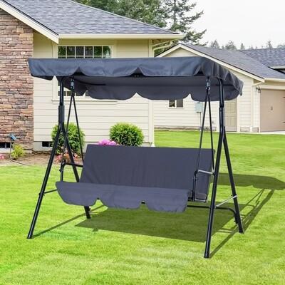 Outsunny® Hollywoodschaukel Gartenschaukel 3-Sitzer grau