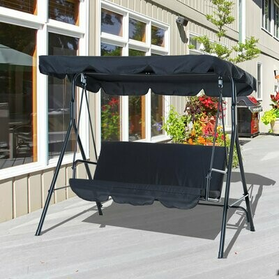 Outsunny® Stahl Hollywoodschaukel Gartenschaukel 3-Sitzer Schwarz