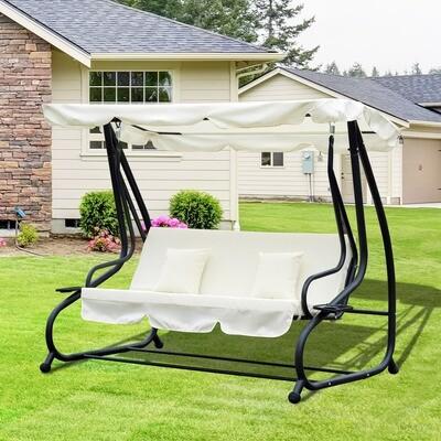 Outsunny® 3- Sitzer Hollywoodschaukel | Liegefunktion | Stahl | Beige | 200 x 120 x 164 cm