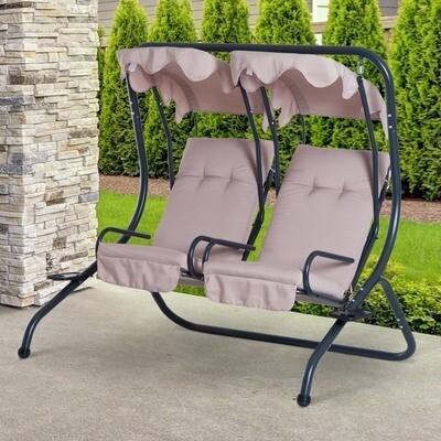 Outsunny® Hollywoodschaukel Gartenschaukel 2-Sitzer Beige 170x136x170cm